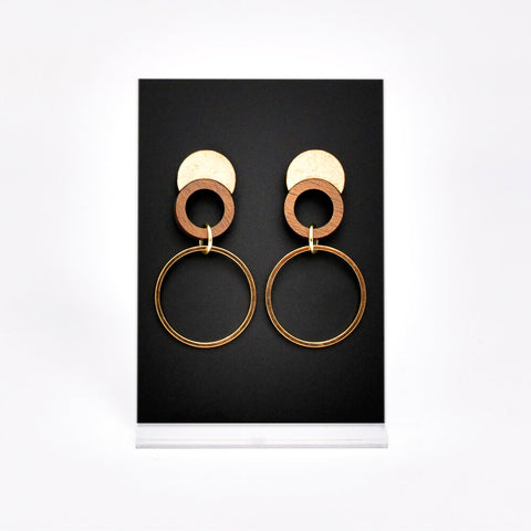 Wood Post Gold Hoop Earring