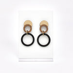 Wood Post Leather Hoop Earring
