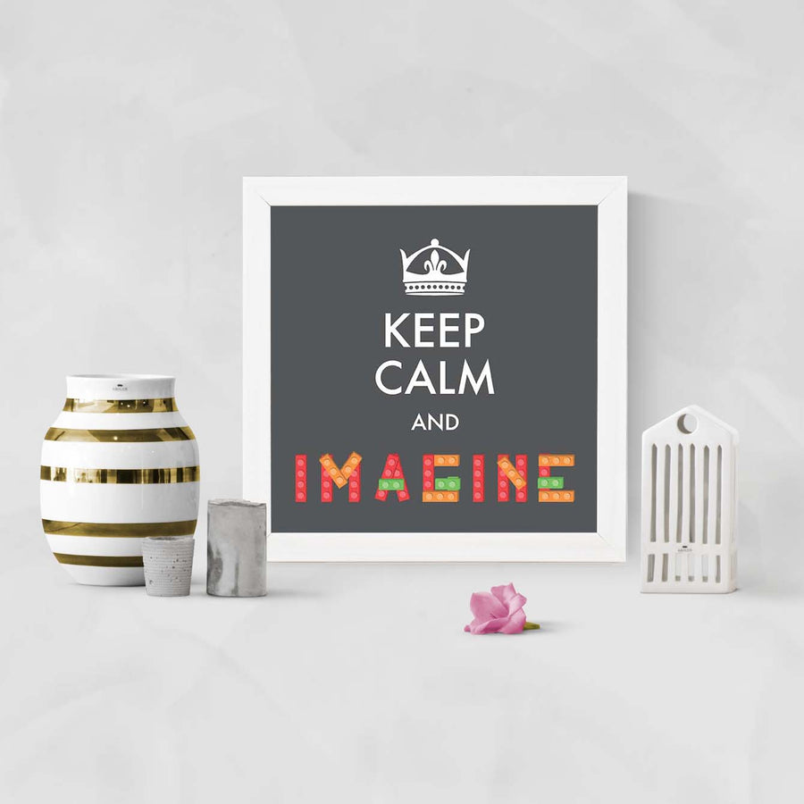 Keep Calm and Imagine Framed Poster