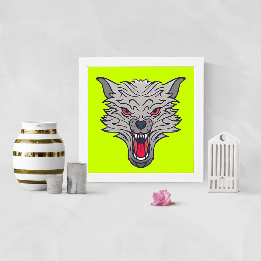 Wolf Face Animal Glass Framed Posters & Artprints