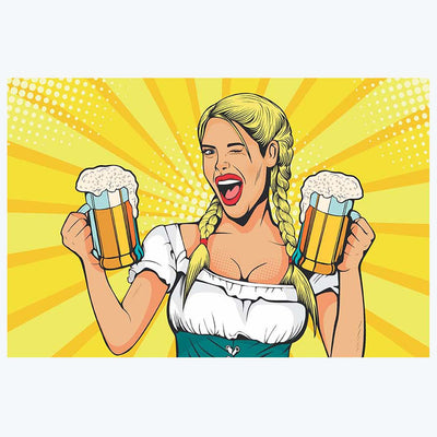 Pop lady with Beer Pop Art Posters