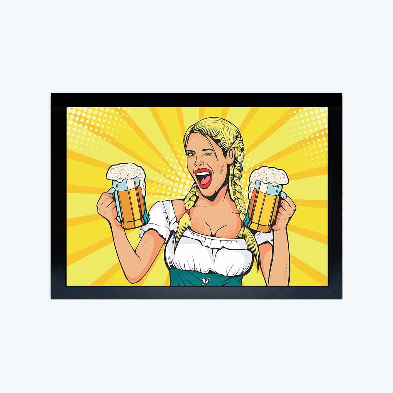 Pop lady with Beer Pop Art Glass Framed Posters & Artprints