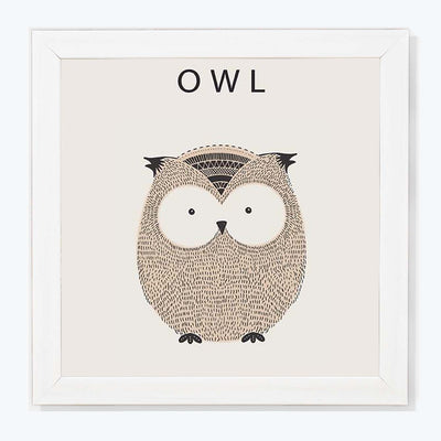 Owl Abstract Glass Framed Posters & Artprints