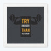 Try Happier Gym Glass Framed Posters & Artprints