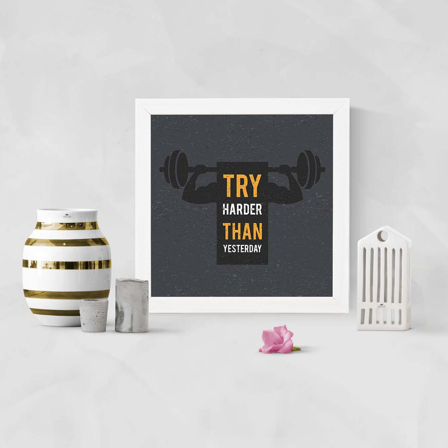 Try Happier Framed Poster