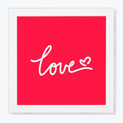 Love Typography Glass Framed Posters & Artprints