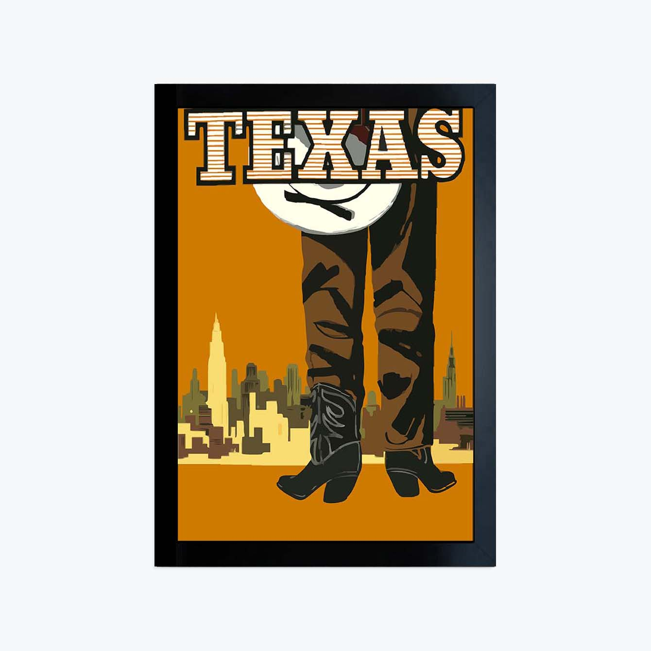Texas Pop Art Glass Framed Posters & Artprints