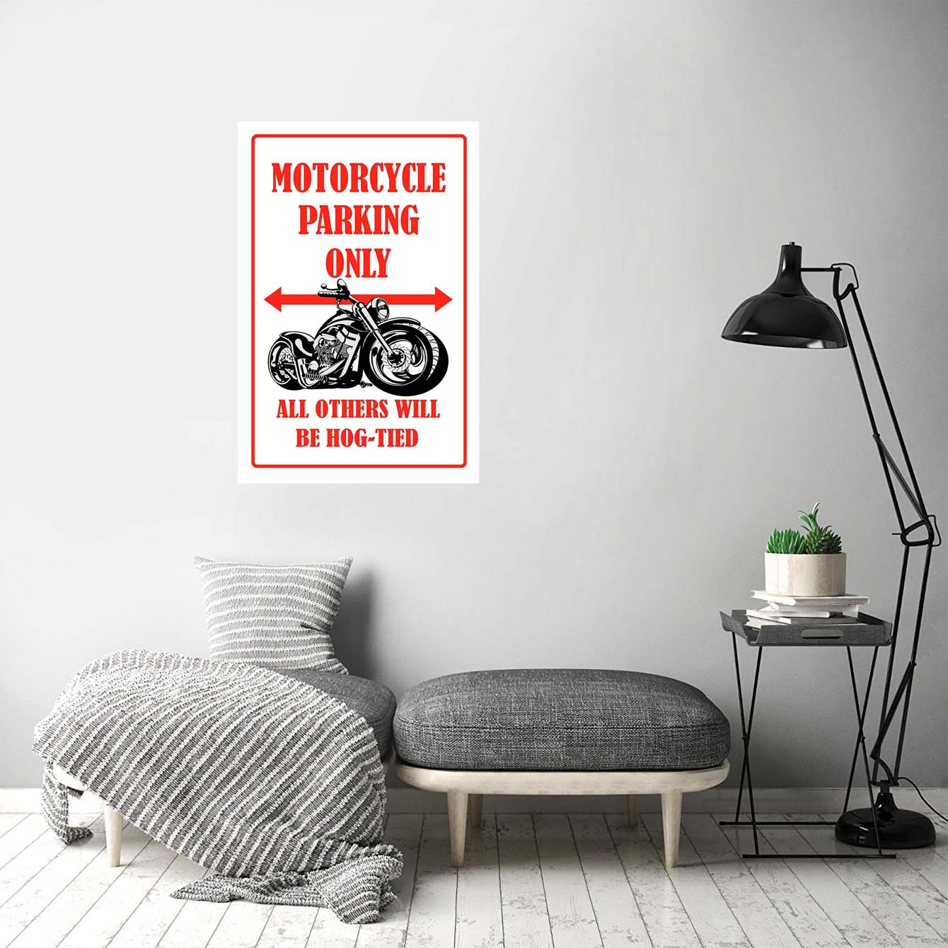 Motorcycle Parking Only Bike Posters