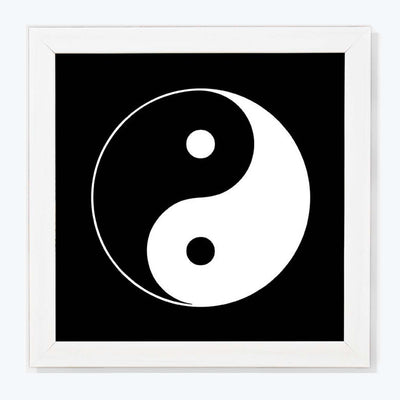 Yin Yang Sign Glass Framed Posters & Artprints