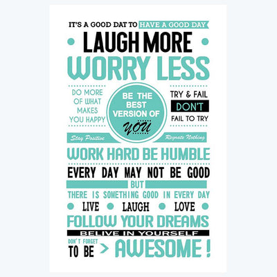 Laugh More Worry Less Typography Posters