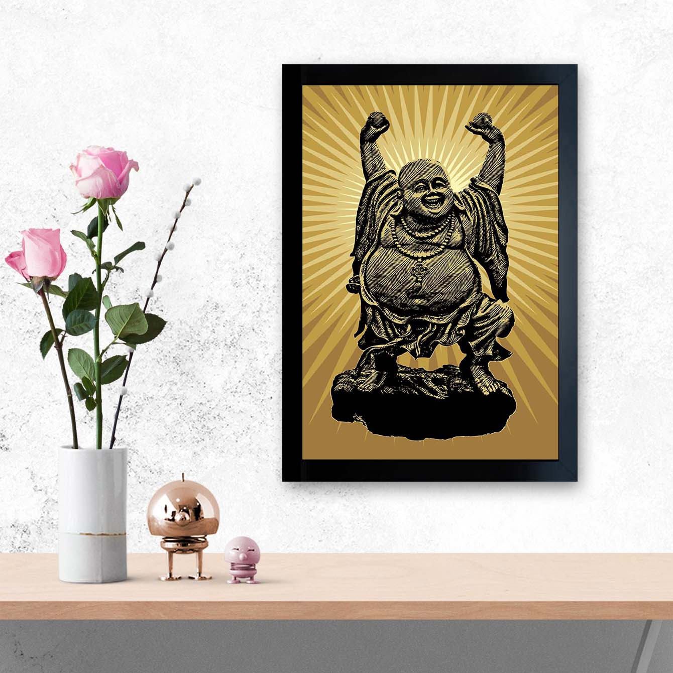 Laughing Buddha Spiritual Glass Framed Posters & Artprints