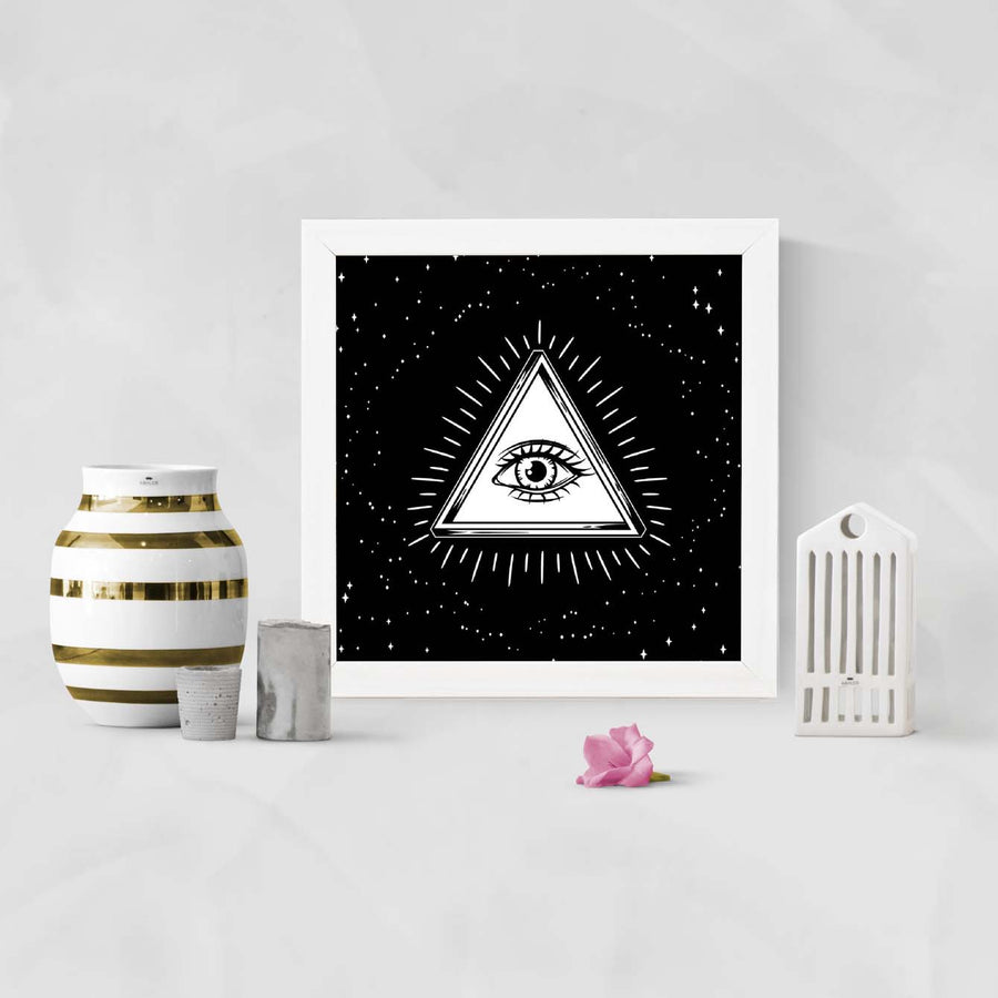 Esoteric Sign Glass Framed Posters & Artprints