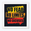 No Excuses Gym Glass Framed Posters & Artprints