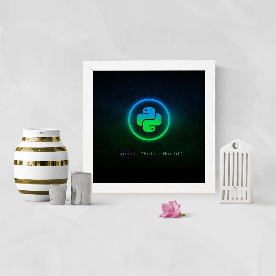 Python Education Glass Framed Posters & Artprints