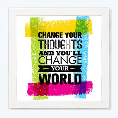 Change Your Thoughts Motivational Glass Framed Posters & Artprints