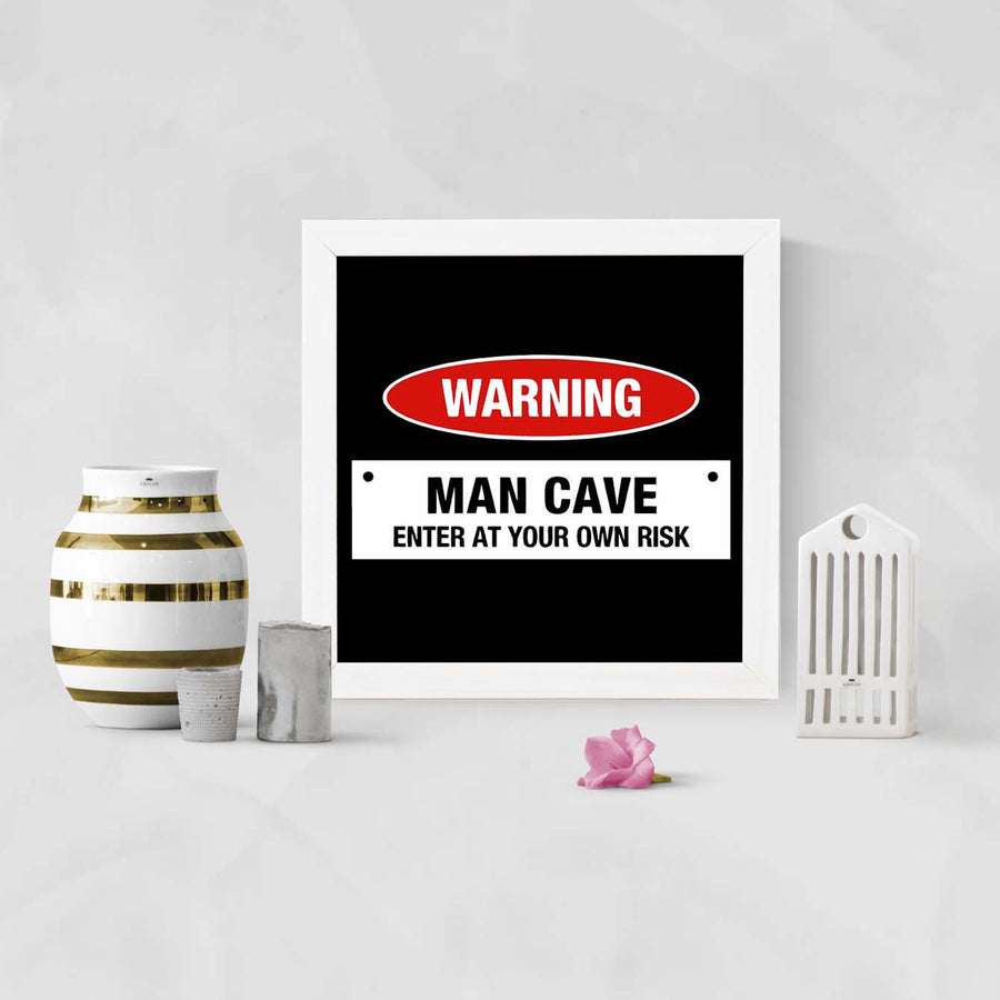 Man Cave Warning Framed Poster