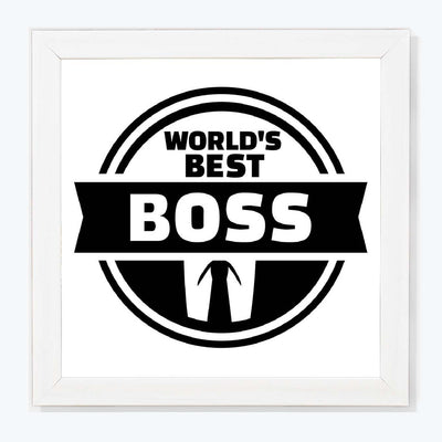 World's Best Boss Typography Glass Framed Posters & Artprints