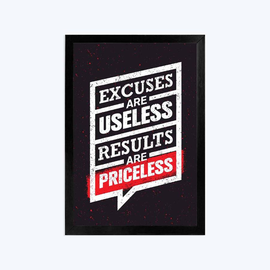Excuses are Useless Framed Poster
