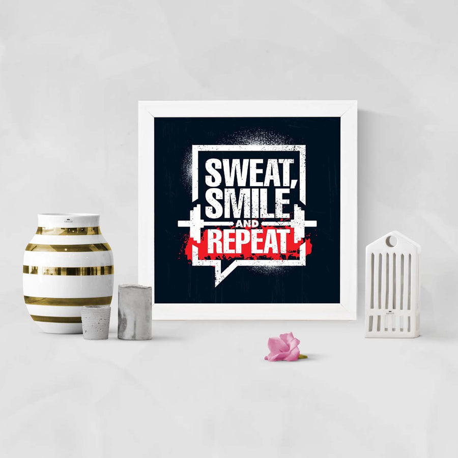 Sweat, smile and repeat Framed Poster