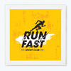 Run fast Gym Glass Framed Posters & Artprints