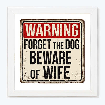 Warning Sign Glass Framed Posters & Artprints