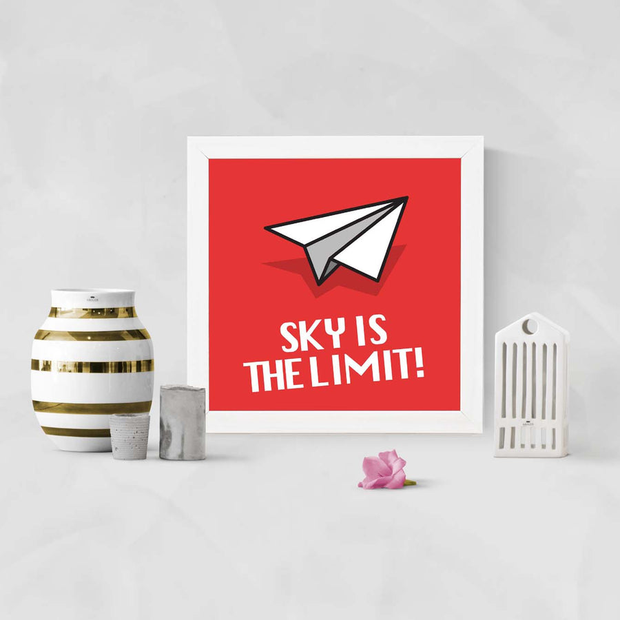 Sky is the limit Motivational Glass Framed Posters & Artprints