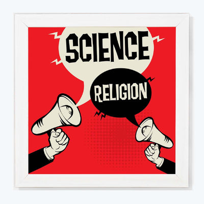 Science religion Humour Glass Framed Posters & Artprints