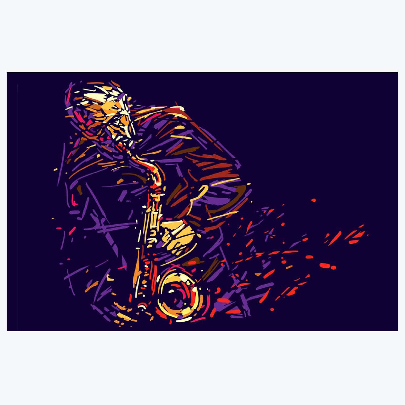 Colourful Saxophone Illustration Abstract Posters