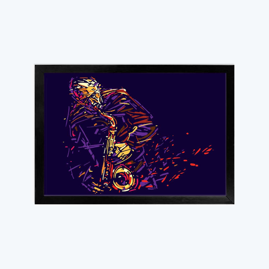 Colourful Saxophone Illustration Framed Poster
