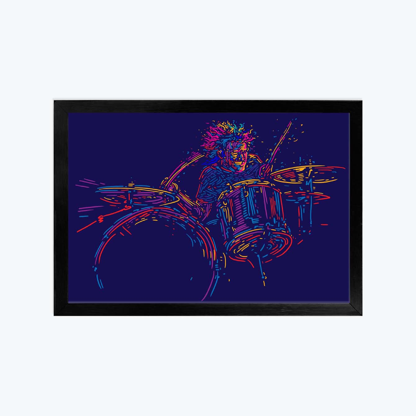 Drum Illustration Abstract Glass Framed Posters & Artprints