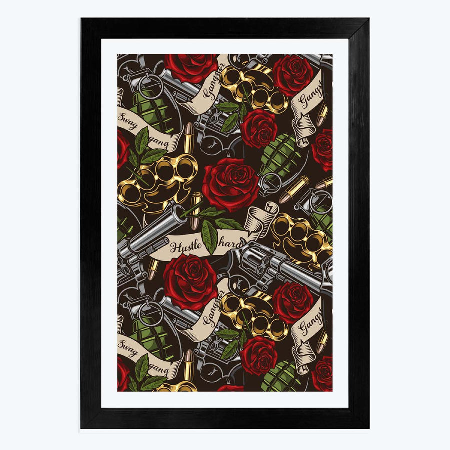 Gangster Red Rose Framed Poster