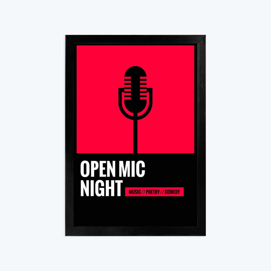 Open mic night Framed Poster
