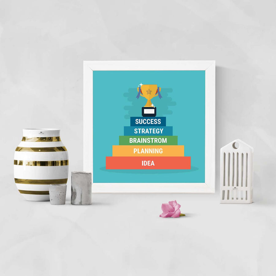 success + idea Framed Poster