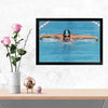 Swimming Motivational Glass Framed Posters & Artprints