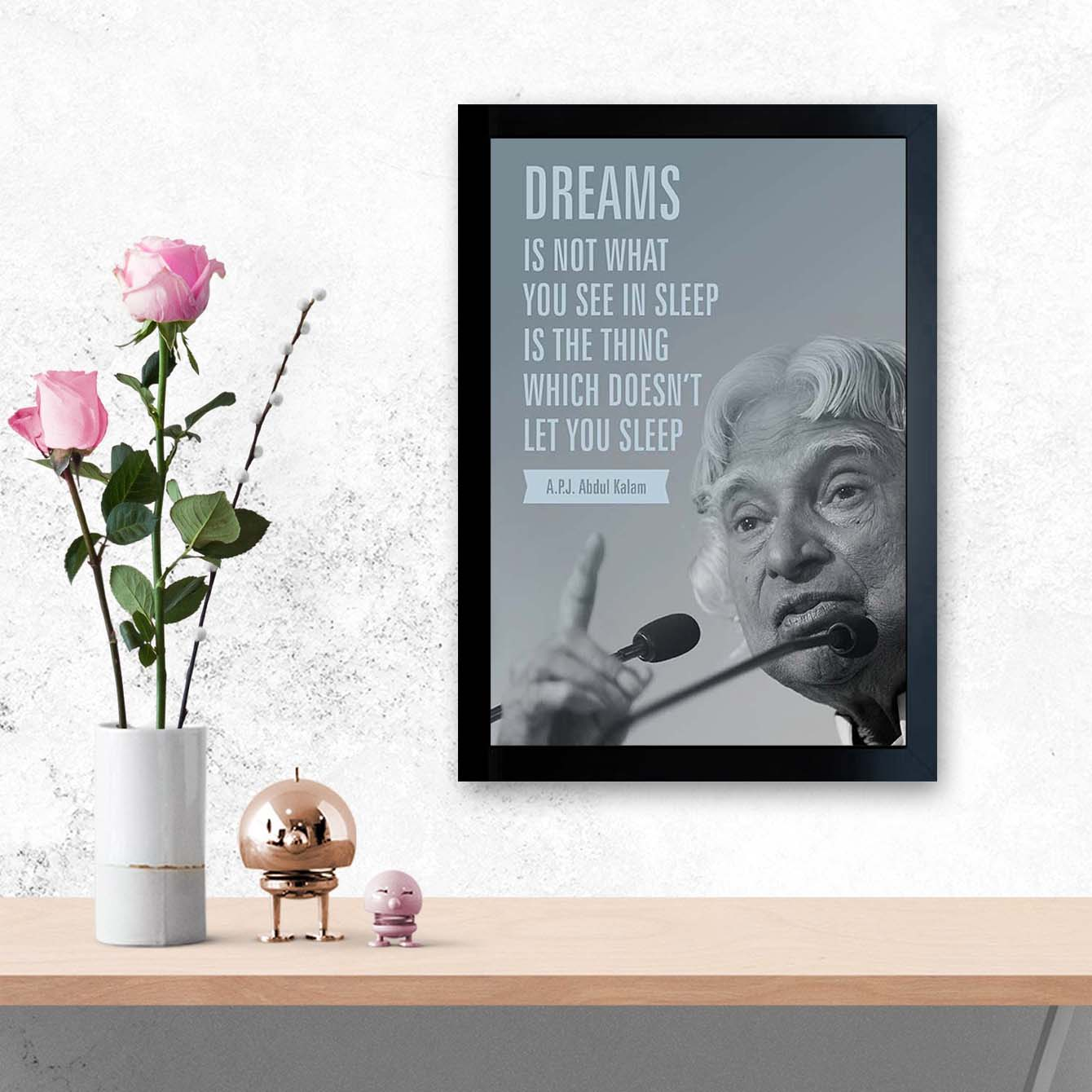 Apj Abdul Kalam Motivational Glass Framed Posters & Artprints