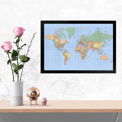 Map Education Glass Framed Posters & Artprints
