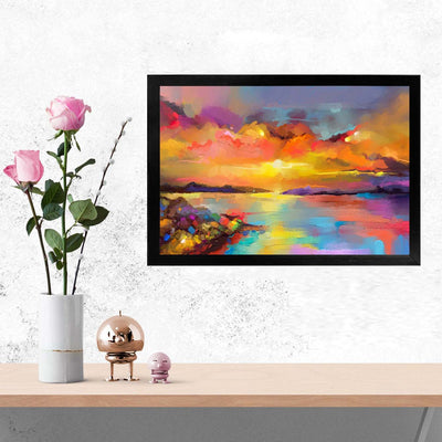 Sun Rise Painting Glass Framed Posters & Artprints