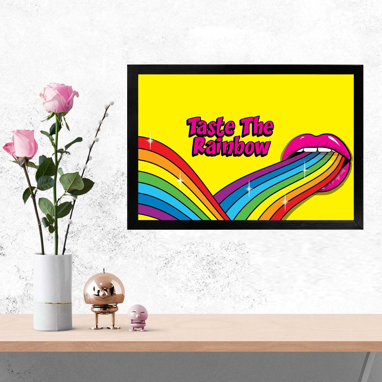 Taste the Rainbow Pop Art Glass Framed Posters & Artprints