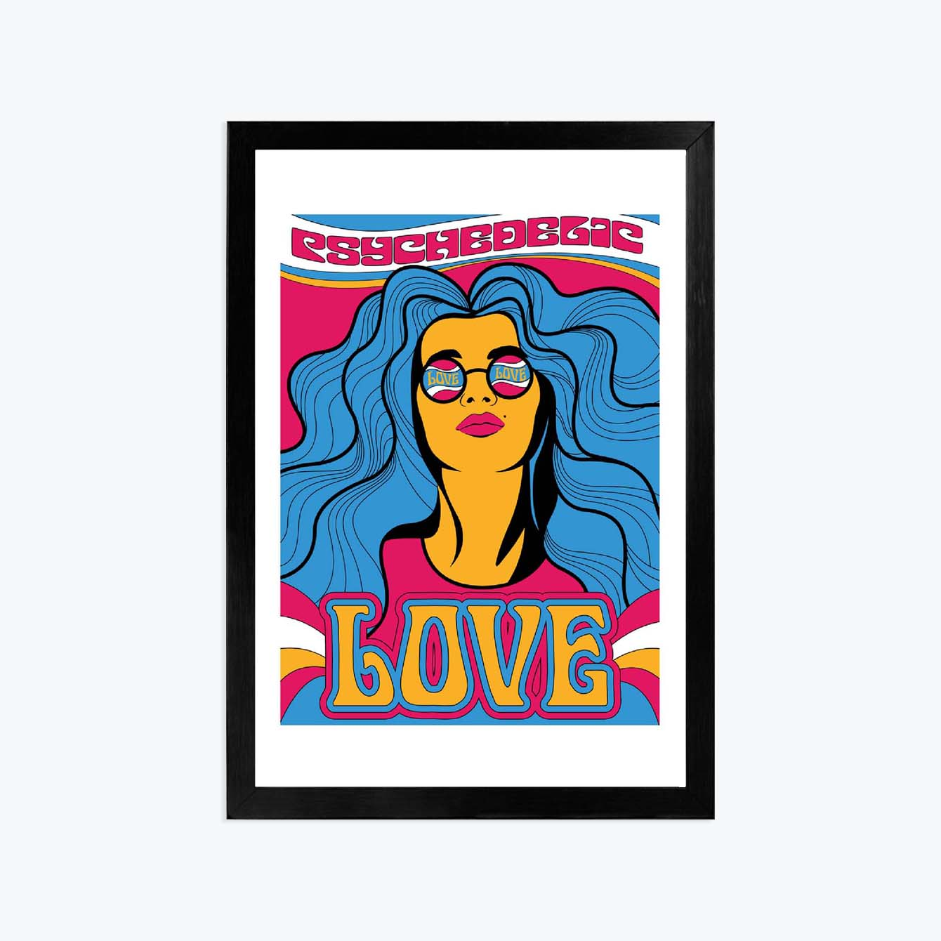 Love Pop Art Glass Framed Posters & Artprints