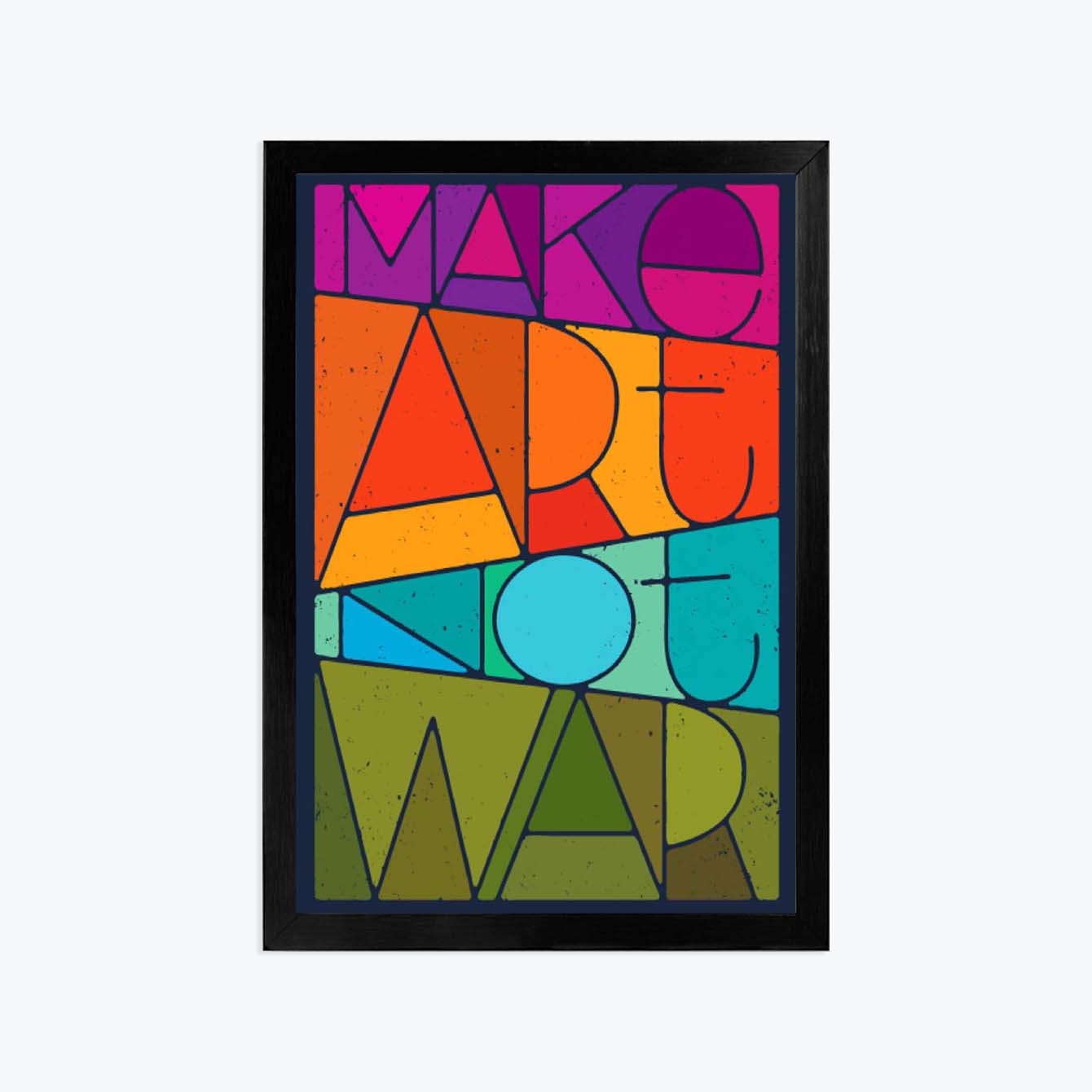 Make art not war Pop Art Glass Framed Posters & Artprints
