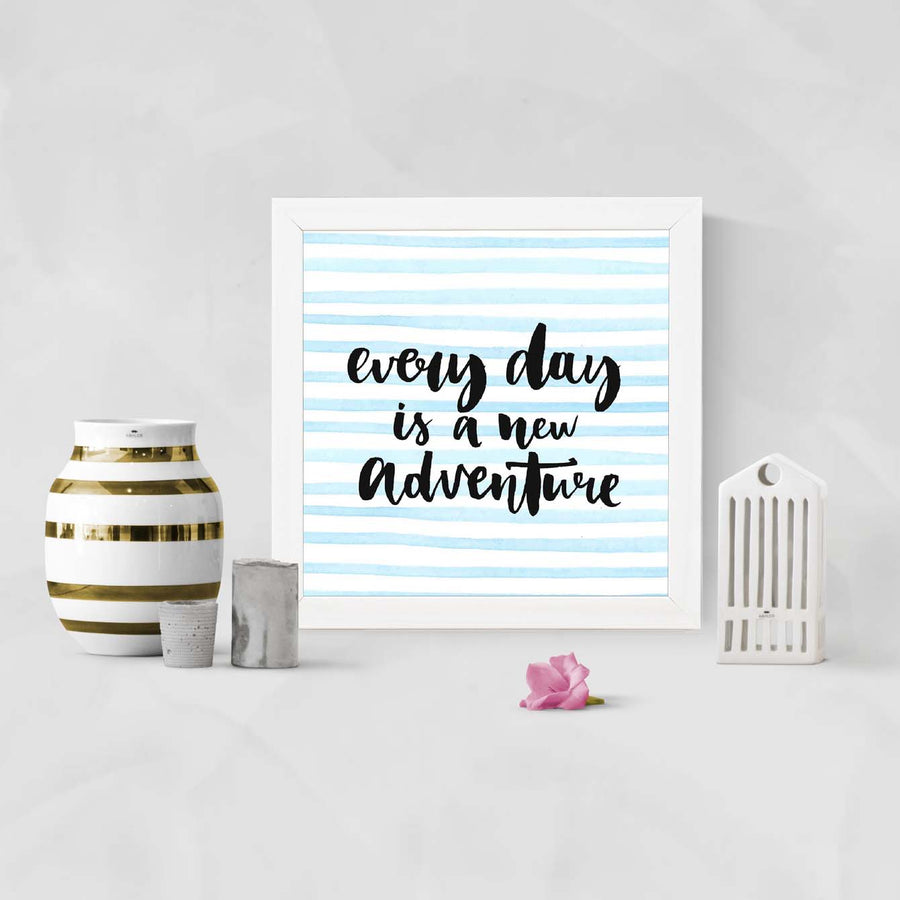 Work day is a new adventure Framed Poster