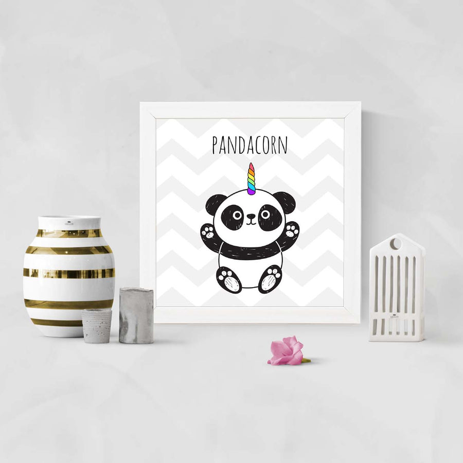 Panda corn Cartoon Glass Framed Posters & Artprints