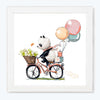 Happy Panda Cartoon Glass Framed Posters & Artprints