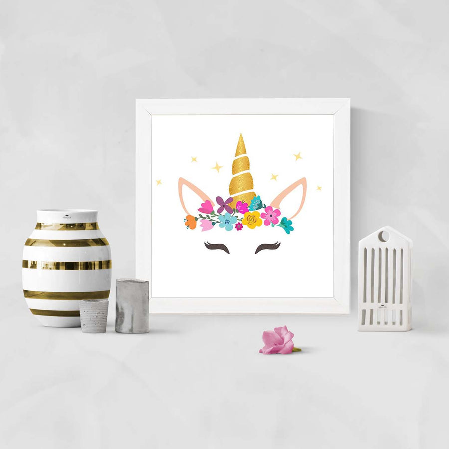 Caticorn With Horn And Flower Flower Glass Framed Posters & Artprints