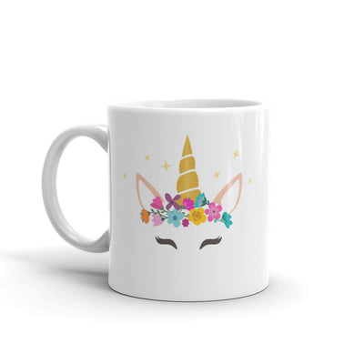 Caticorn With Horn And Flower Flower Coffee Mug