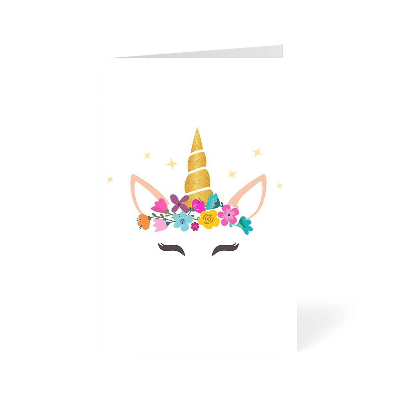 Caticorn With Horn And Flower Flower Greeting Card Online