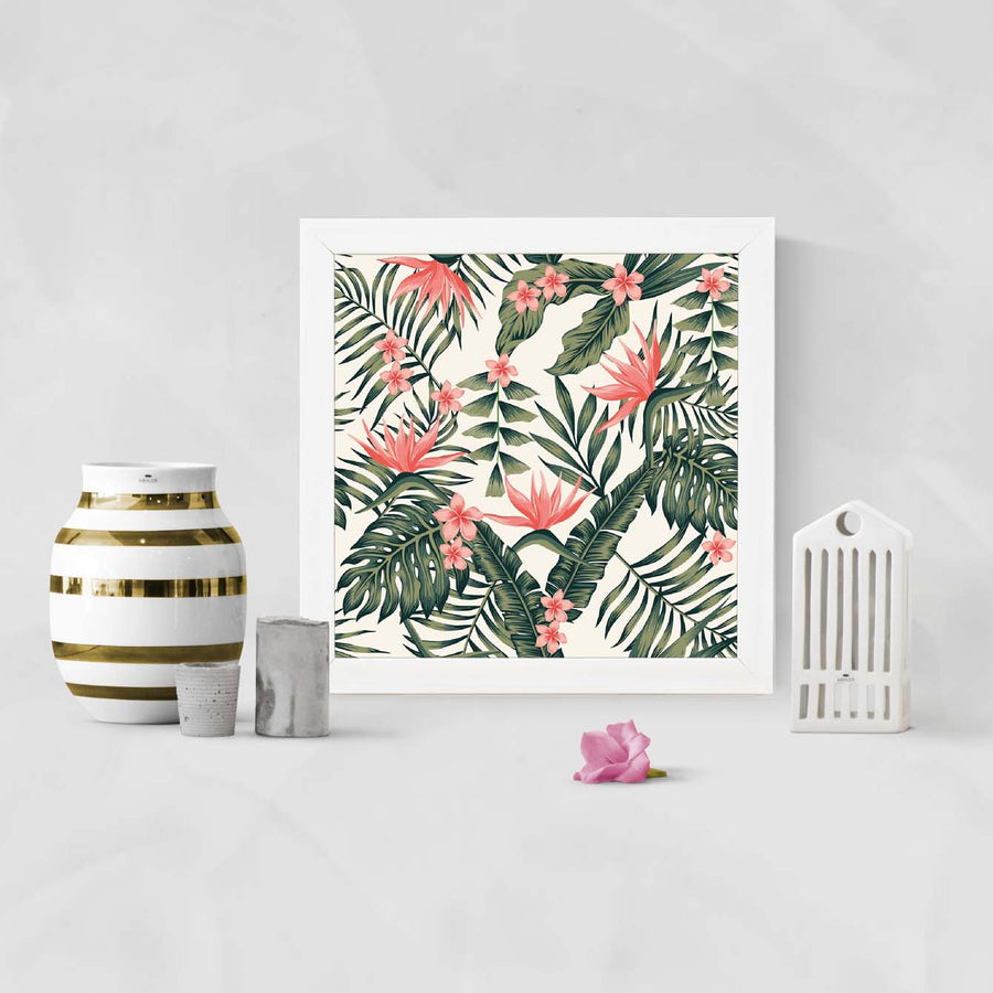Leaves and Flowers Framed Poster