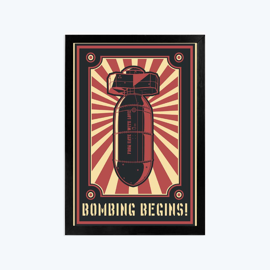 Bombing begins Framed Poster