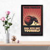 Deal with shit ourself Retro Glass Framed Posters & Artprints