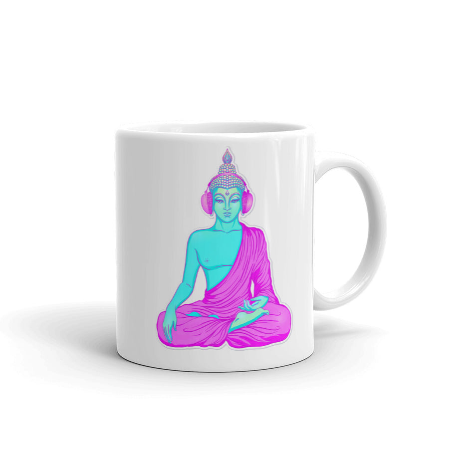 Buddha listening to music in headphones Mug